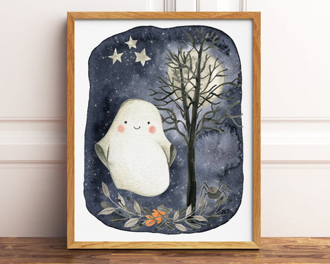 Cute Ghost Print, Halloween Printable Decor for Kids, Watercolor Halloween Decor, Spooky Tree Halloween Decorations, Halloween Wall Art