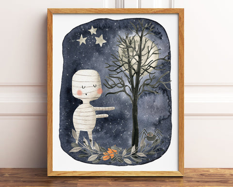 Mummy Halloween Printable Decor, Cute Kids Halloween Decor, Halloween Party Decorations, Mummy Printable, Halloween Print, Halloween Art