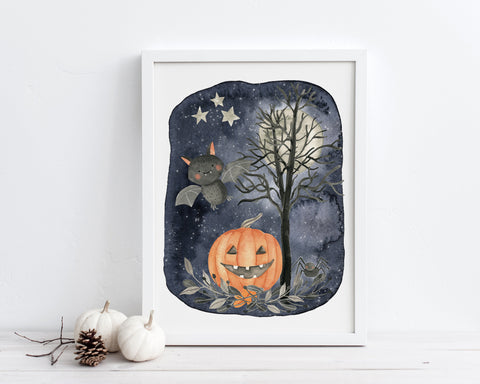 Bat and Jack o Lantern Halloween Printable Wall Art, Digital Download