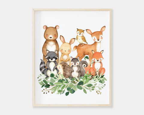 Watercolor Woodland Animals Printable Wall Art, Digital Download