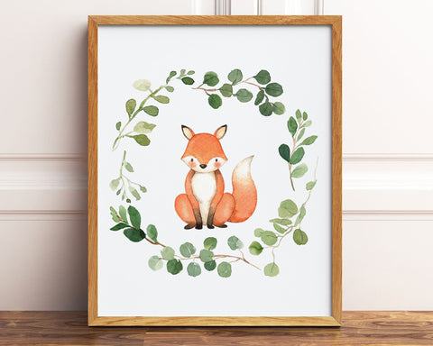 Watercolor Fox Greenery Wreath Printable Wall Art, Digital Download