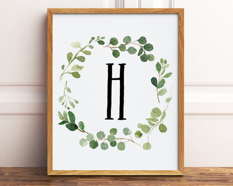 Greenery H Monogram Wreath Printable Wall Art, Letter H Print, Personalized Gift, Farmhouse Decor, Botanical Housewarming Gift Home Wall Art
