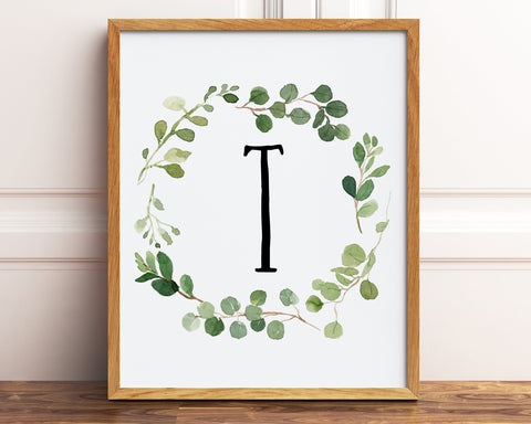 Letter T Monogram Printable Wall Art, Watercolor Greenery Wreath Initial Letter Print, Baby Boy Neutral Nursery Decor, Farmhouse Nursery
