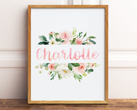 Blush Pink Floral Nursery Name Sign, Personalized Floral Nursery Decor, Watercolor Floral Nursery Theme, Floral Nursery Print, Wall Art