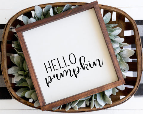 Hello Pumpkin Square Printable Wall Art, Digital Download