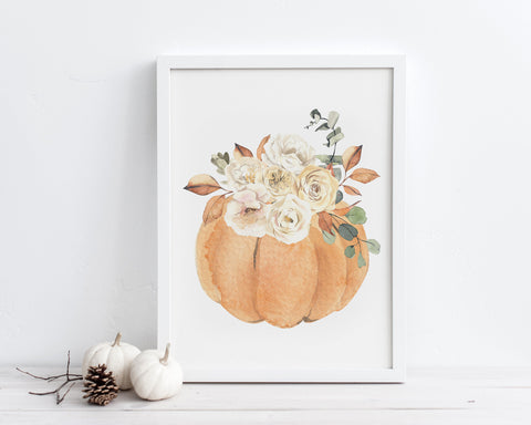 Watercolor Floral Pumpkin Printable Wall Art, Instant Digital Download