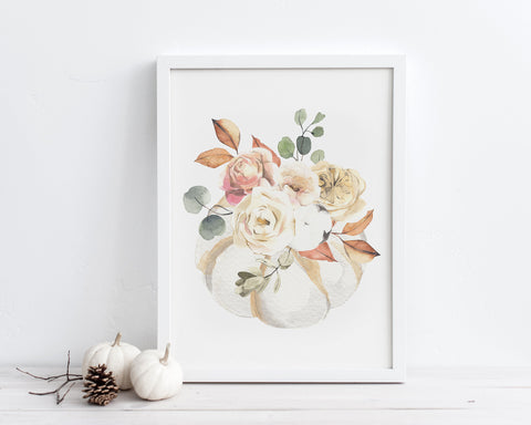 Watercolor White Floral Pumpkin Printable Wall Art, Instant Digital Download