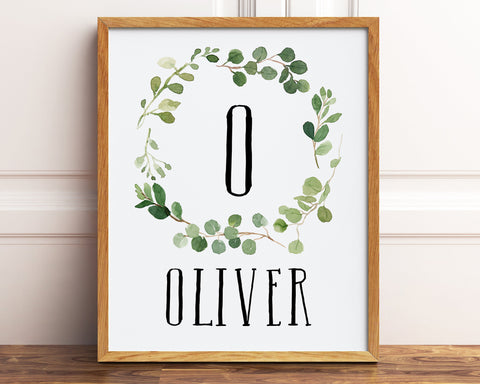Greenery Name Art, Printable Name Sign, Personalized Nursery Monogram Letter Art, Eucalyptus Wreath Wall Art, Personalized Baby Boy Gift