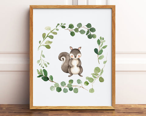 Watercolor Squirrel Greenery Wreath Printable Wall Art, Digital Download