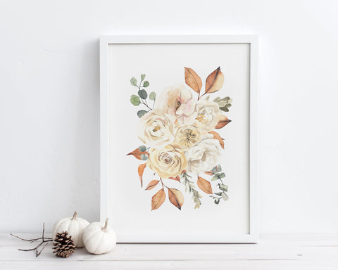 Watercolor Fall Floral Bouquet Printable Wall Art, Digital Download
