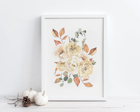 White Floral Fall Bouquet Printable Wall Art, Digital Download