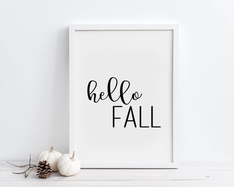 Hello Fall Printable Wall Art, Digital Download