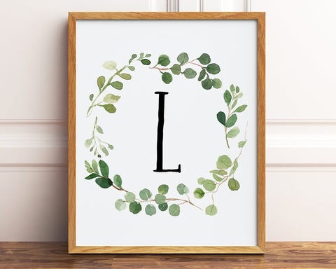 Letter L Print, Monogram Printable Wall Art, Watercolor Greenery Letter Printable, Baby Boy Farmhouse Nursery Decor, Botanical Prints