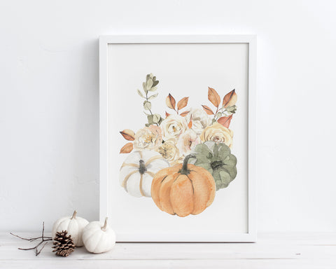 Pumpkin Fall Bouquet Printable Wall Art, Digital Download