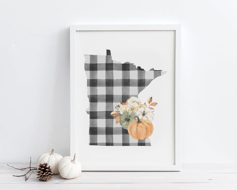 Buffalo Plaid Fall Floral Pumpkins Minnesota Printable Wall Art, Digital Download