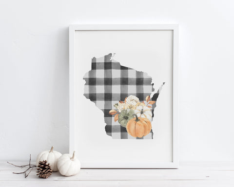 Buffalo Plaid Fall Floral Pumpkins Wisconsin Printable Wall Art, Digital Download