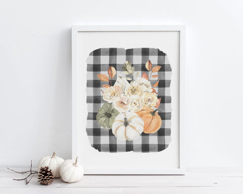 Buffalo Plaid Fall Farmhouse Floral Pumpkins Printable Wall Art, Digital Download