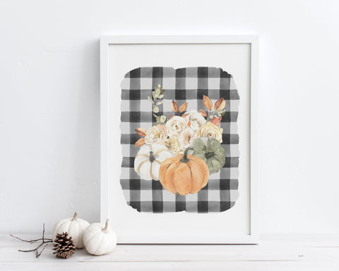 Pumpkin Fall Floral Buffalo Plaid Printable Wall Art, Digital Download