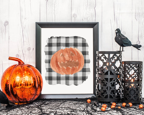 Orange Jack O Lantern Halloween Printable Wall Art, Orange Pumpkin Decor, Halloween Decorations, Halloween Printables, Digital Download