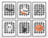 Halloween Printables, Halloween Print Set of 6, Buffalo Plaid Halloween Party Decorations, Bat, Boo Pumpkin, Witches Broom, Skull, Witch Hat
