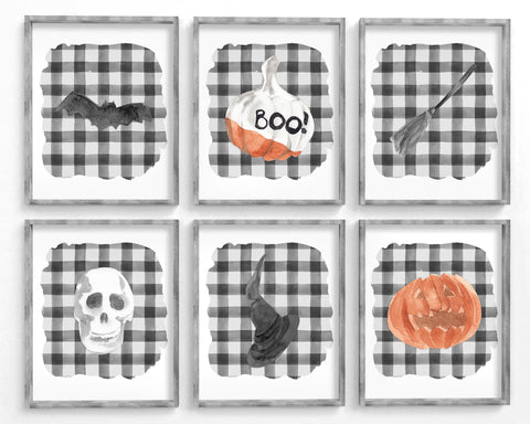 Halloween Printable Wall Art Set of 6, Digital Download