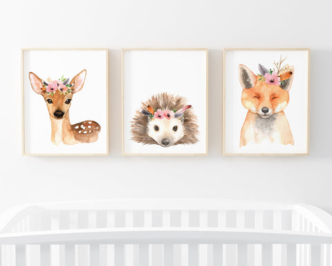 Floral Crown Woodland Printable Wall Art, Set of 3 Boho Animal Prints Download, Pink Floral Woodland Nursery Decor, Girl Nursery Wall Art