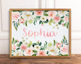 Custom Name Print, Personalized Girls Name Printable Wall Art, Baby Name Art, Floral Nursery Name Sign, Nursery Wall Art, Baby Shower Gift