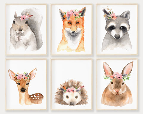 Woodland Nursery Decor, Baby Girl Woodland Nursery Art Set of 6, Printable Boho Woodland Animal Nursery Art, Girl Nursery Decor