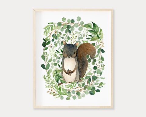 Watercolor Greenery Squirrel Printable Wall Art, Digital Download