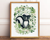 Watercolor Greenery Skunk Printable Wall Art, Digital Download