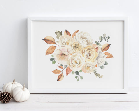 Horizontal Fall Floral Bouquet Printable Wall Art, Digital Download