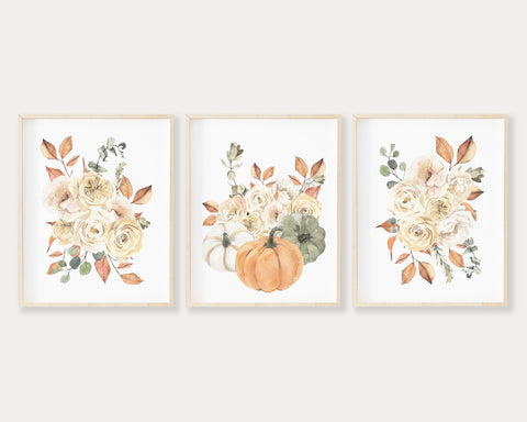 Fall Floral Pumpkin Printable Wall Art Set of 3, Digital Download