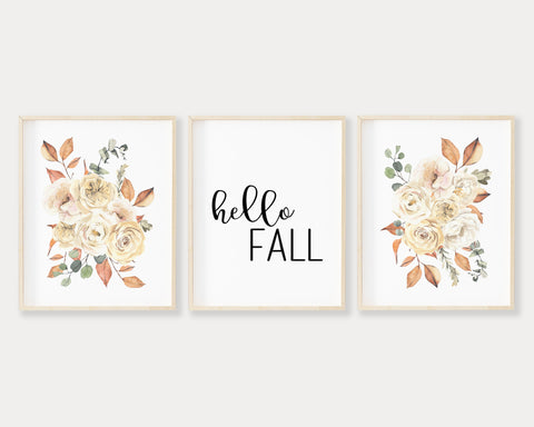 Hello Fall Printable Wall Art Set of 3, Digital Download
