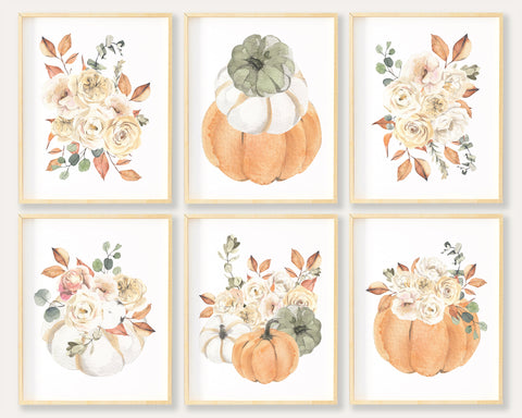 Floral Autumn Decorations, Watercolor Fall Printable Wall Art, Fall Wall Art, Floral Pumpkin Printable, Gourd Art, Fall Office Decor