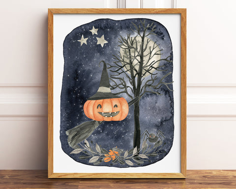 Pumpkin Witch Halloween Printable Decor, Witches Broom Halloween Decor, Pumpkin Decorations, Witch Hat Halloween Sign, Jack o Lantern Print