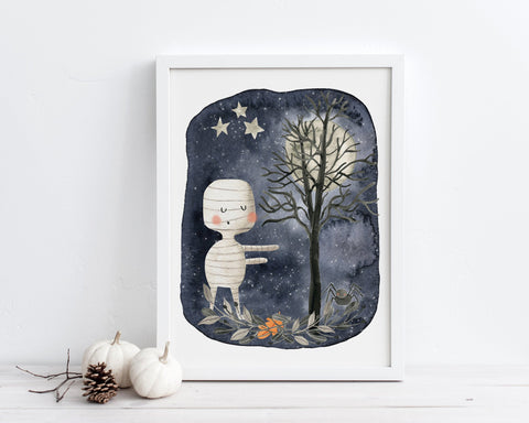 Mummy Halloween Printable Wall Art, Digital Download