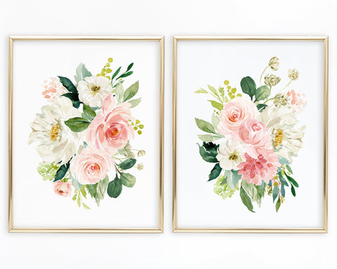 Watercolor Peony Floral Bouquet Set of 2 Printable Wall Art, Digital Download