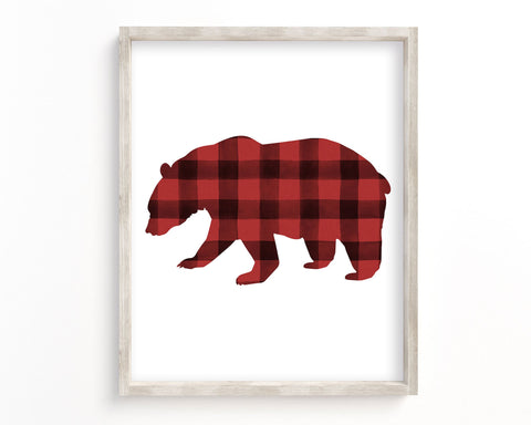 Watercolor Buffalo Plaid Bear Silhouette Printable Wall Art, Digital Download