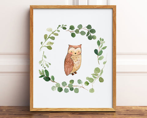 Watercolor Greenery Wreath Owl Printable Wall Art, Digital Download