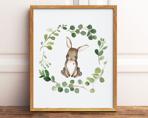 Watercolor Greenery Wreath Bunny Rabbit Printable Wall Art, Digital Download