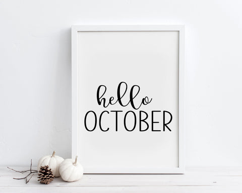 Hello October Printable Wall Art, Digital Download