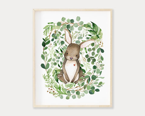 Watercolor Greenery Bunny Rabbit Printable Wall Art, Digital Download