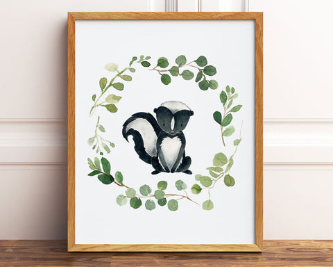 Watercolor Greenery Wreath Skunk Printable Wall Art, Digital Download