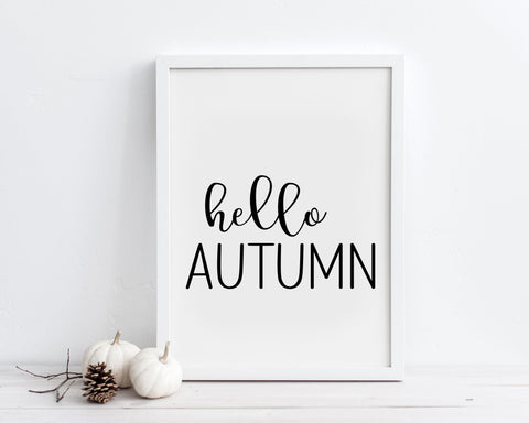 Hello Autumn Printable Wall Art, Digital Download