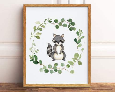Watercolor Raccoon Greenery Wreath Printable Wall Art, Digital Download