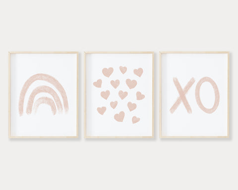 Blush Pink Rainbow Hearts and XO Printable Wall Art Set of 3, Digital Download