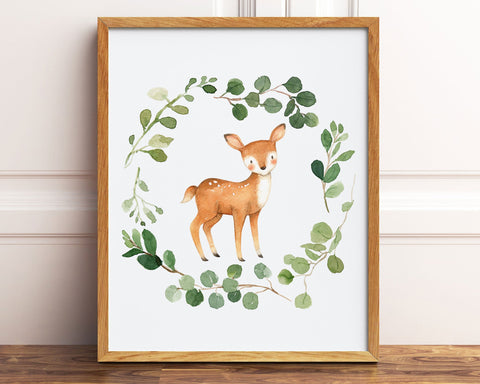 Watercolor Deer Greenery Wreath Printable Wall Art, Digital Download
