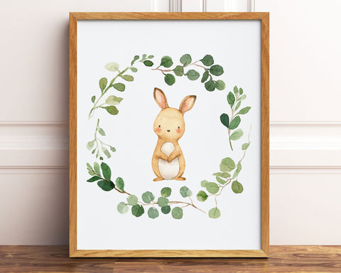 Watercolor Bunny Rabbit Greenery Wreath Printable Wall Art, Digital Download