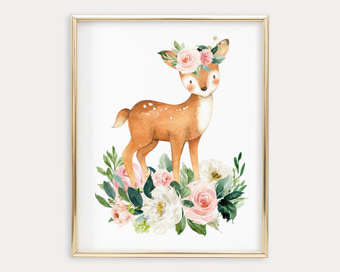 Watercolor Boho Flower Crown Deer Printable Wall Art, Digital Download