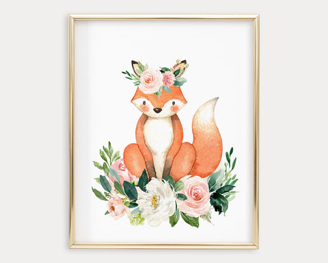 Watercolor Boho Flower Crown Fox Printable Wall Art, Digital Download